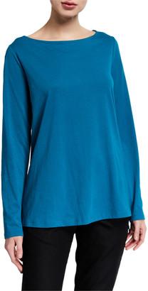Eileen Fisher Organic Cotton Jersey Bateau-Neck Long-Sleeve T-Shirt