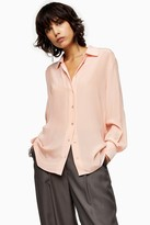 Topshop Blush Pink Oversized Silk Shirt