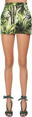 Dolce & Gabbana Jungle Printed Cotton Drill Shorts