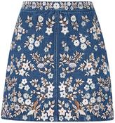 Needle & Thread Denim Embroidery High Waist Skirt