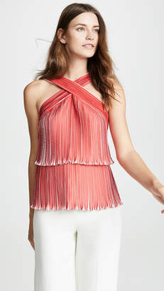 Yigal Azrouel Two Tone Origami Pleat Top