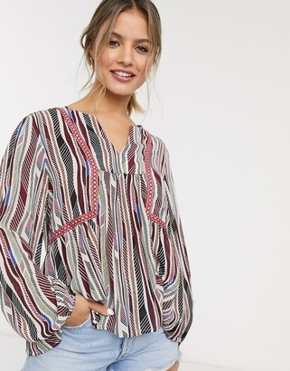 JDY v neck smock blouse in mixed stripe print