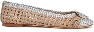 Tory Burch Logo-embellished Metallic Woven Leather Ballet Flats
