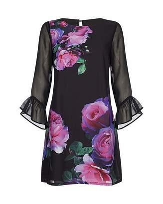 Yumi Curves Rose Print Tunic Dress