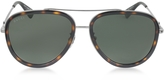 Gucci GG0062S 002 Havana Acetate and Silver Metal Aviator Women's Sunglasses