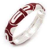 Avalaya Red/White Geometric Enamel Hinged Bangle Bracelet In Rhodium Plated Metal - 18cm Length