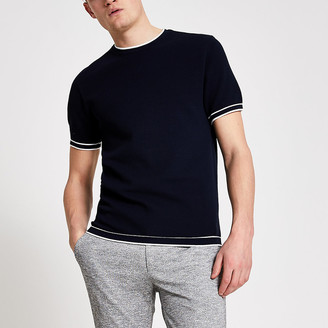 River Island Navy slim fit tipped knitted T-shirt