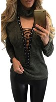 Pink Wind PinkWind Women's Deep V Neck Lace Up Ribbed Pullover Sweater Knitwear M