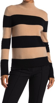 Magaschoni Striped Mock Neck Cashmere Sweater