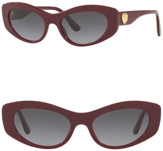 Dolce & Gabbana 53mm Skinny Cat Eye Sunglasses