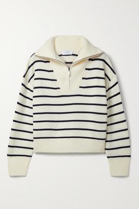 La Ligne Cropped Striped Merino Wool Sweater - Cream