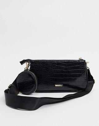 Aldo Dinna crossbody with detachable pouches in black croc