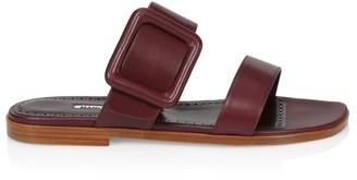 Manolo Blahnik Tituba Leather Flat Sandals