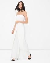 White House Black Market Convertible White Strapless Split-Pant Jumpsuit