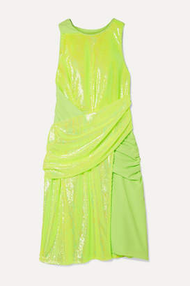 Sies Marjan Quincy Draped Sequined Tulle And Crepe Dress - Chartreuse