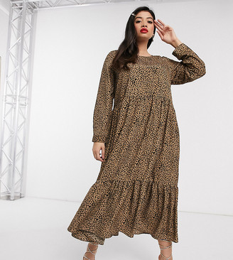 Never Fully Dressed Plus trapeze maxi dress with ruffle hem in leopard print