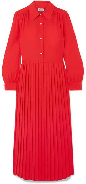 Barbara Midi Red Crepe Pleated Dress mvN80wOn
