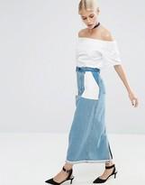 Asos Denim Reversed Slim Midi Skirt in Mid Wash Blue