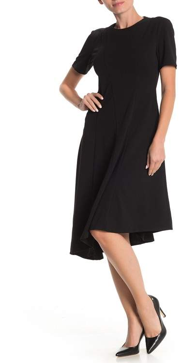 Donna Morgan Short Sleeve Asymmetrical Fit and Flare Dress