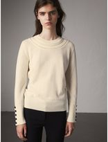 Burberry Cable Knit Yoke Cashmere Sweater , Size: XL, White