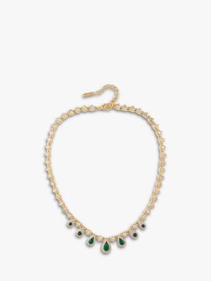 Susan Caplan Vintage D'Orlan 22ct Gold Plated Swarovski Crystal Teardrop Collar Necklace, Gold/Green
