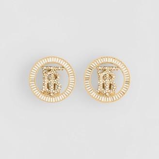 Burberry Crystal Detail Gold-plated Monogram Motif Earrings