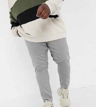 ASOS DESIGN Plus super skinny ankle grazer trousers in grey pinstripe