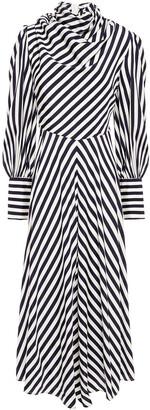 Zimmermann Draped Striped Stretch-silk Midi Dress