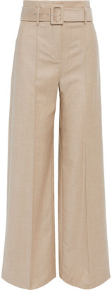 Theory Belted Wool-flannel Wide-leg Pants