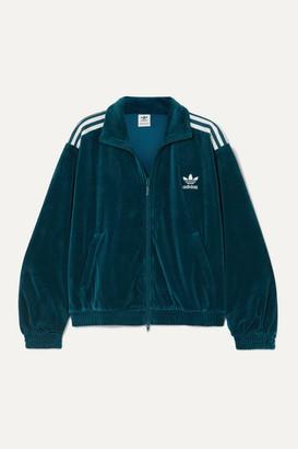 adidas Striped Cotton-blend Velvet Track Jacket - Teal