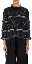 Etoile Isabel Marant Women's Daniela Embroidered Linen Peasant Top-BLACK