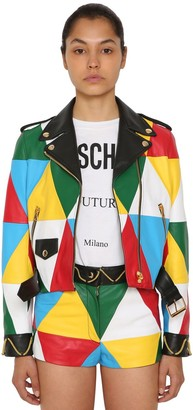 Moschino Multicolor Leather Biker Jacket