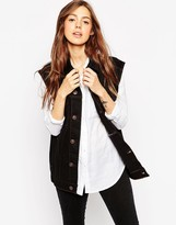 Asos Denim Girlfriend Vest in Black With Contrast Stitch