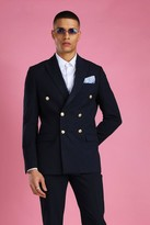 boohoo Mens Navy Skinny Fit Double Breasted Suit Jacket, Navy