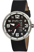 Simplify Mens The 800 Black Leather-Band Black Dial Watch With Day&Date Sim0802