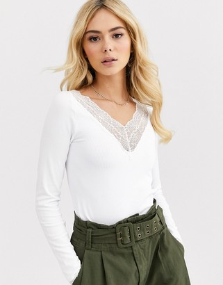 Pieces Jida long sleeve v neck lace trim top