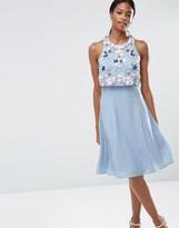 Asos Multi Cluster 3D Floral Crop Top Midi Dress