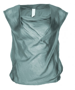 Format LIZZ Green Grey Silk Lizz Blouse - L - Green/Grey