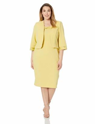 Maya Brooke Women's Plus Size Solid Jacket Dress with Detailed Sleeve