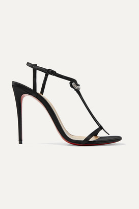 Christian Louboutin T Cab 100 Crystal-embellished Satin Sandals - Black