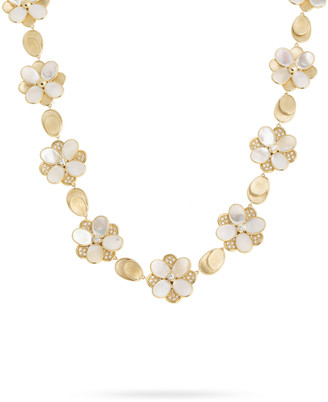 Marco Bicego Petali Mother-of-Pearl and Diamond Pave Statement Necklace
