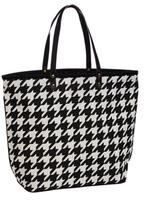 Evergreen Houndstooth Jute Tote