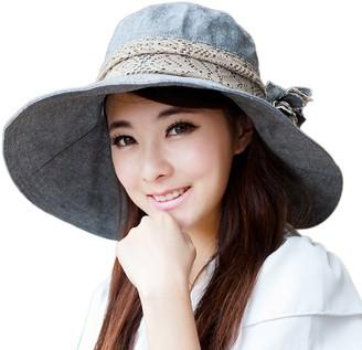 SZTARA Fashion Ultraviolet-Proof Sun Hat Foldable Summer Spring Autumn Beach Cap Large Wide Brim Sunbonnet for Women Holiday Travel Deep Grey