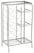 Aiden Lane Anderon Accent Table With Wine Storage Rack - Matte Silver