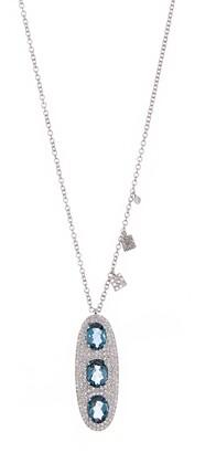 Meira T 14K White Gold Triple Blue Topaz & Pave Diamond Oval Pendant Necklace