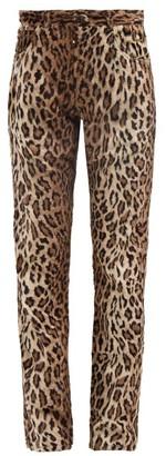 Martine Rose Leopard Print Faux Fur Trousers - Womens - Leopard