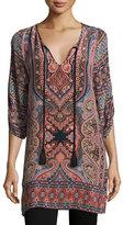 Tolani Nova Long Printed Silk Tunic, Coral