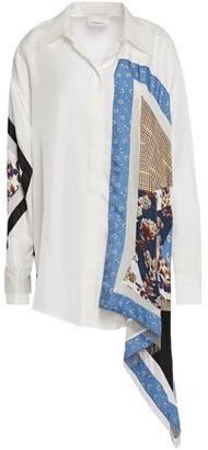 3.1 Phillip Lim Asymmetric Patchwork-effect Fringe-trimmed Printed Silk Shirt