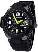 Multi Function Sports LCD Date Analog Digital Green Watch Waterproof Boys Girls Dual Display Running