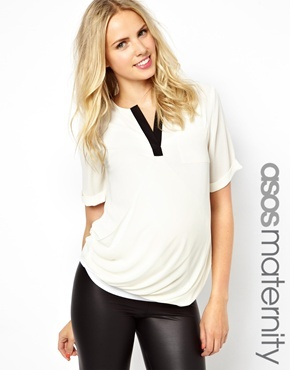 Asos Exclusive Blouse With Contrast Detail - Cream/black